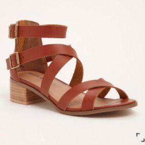 Torrid Cognac Strappy Block Heels 12.5 Wide